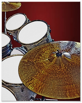 cool drummer poster with snare drum bass drum toms and cymbals