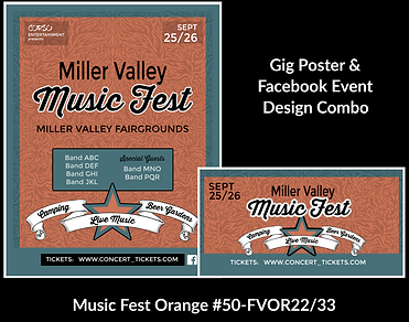 music fest style custom gig poster design and matching facebook event design for bands organzations and event planners to promote their event