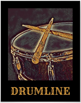 blue and gold drummer poster with snare drum and crossed drumsticks and caption drumline for snareline and marching band