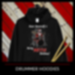 Musician Christmas Hoodie with Skeleton Santa drumming on a drum set with caption Have Yourself a Merry Metal Christmas