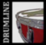 drummer poster with red snare drum and drum sticks with caption drumline for snareline and marching band drummers