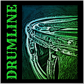 green drumming poster with beautiful snare drum and crossed drumsticks with caption drumline for snare line and marching band drummers