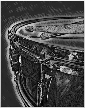 drummer poster with beautiful black and gray  snare drum and crossed drumsticks