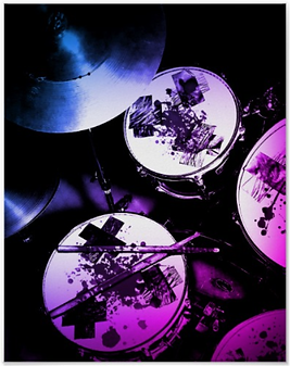 Edgy pink drum poster with bloody drum kit including snare drum hi hat toms bass drum and cymbal for punk drummers and metal drummers