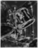Cool black and gray drummer poster with front of drum kit including bass drum toms and cymbal