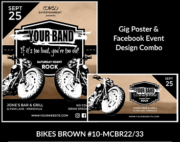 cool biker look with motorcycles on custom gig poster design and matching facebook event design for bands organzations and event planners to promote their event