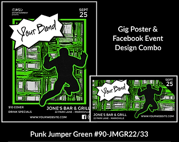 punk style green custom gig poster design and matching facebook event design for bands organzations and event planners to promote their event