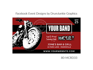 cool motorcycle on red and black custom event design for bands organzations and event planners to promote their event