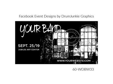 industrial style black and white custom event design for bands organzations and event planners to promote their event