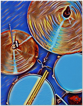 blue drummer poster with picture of drum kit including snre drum, hi hat, tom, cymbal and drumsticks