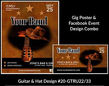 western style cowboy hat and guitar on custom gig poster design and matching facebook event design for bands organzations and event planners to promote their event