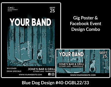fun and edgy blue dog on custom gig poster design and matching facebook event design for bands organzations and event planners to promote their event