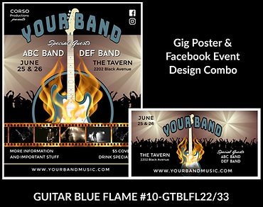 cool flaming blue guitar custom gig poster design and matching facebook event design for bands organzations and event planners to promote their event