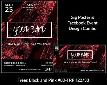 edgy pink and black custom gig poster design and matching facebook event design for bands organzations and event planners to promote their event