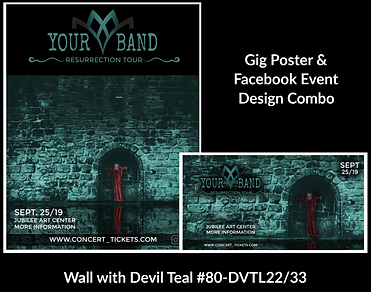 teal and black metal style red devil on custom gig poster design and matching facebook event design for bands organzations and event planners to promote their event