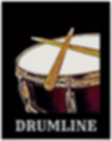 drummer poster with red snare drum and crossed drumsticks and caption drumline for snareline and marching band