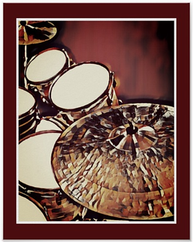 cool red drummer poster with snare drum bass drum toms and cymbals