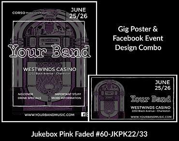faded pink jukebox on custom gig poster design and matching facebook event design for bands organzations and event planners to promote their event