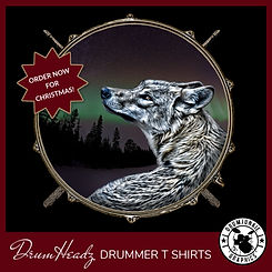 DrumHeadz drummer t shirt with snare drum and drumsticks. Drumhead has beautiful image of wolf and northern lights