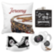 customizable drummer pillow, drummer flask, drumming shoes and drum themed accessories