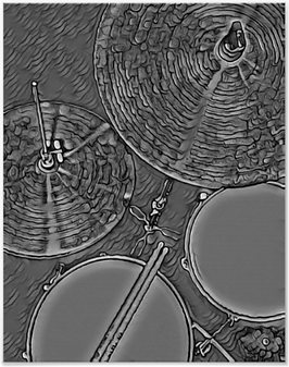 gray drummer poster with picture of drum kit including snre drum, hi hat, tom, cymbal and drumsticks