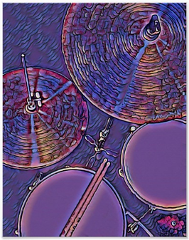 pink drummer poster with picture of drum kit including snre drum, hi hat, tom, cymbal and drumsticks