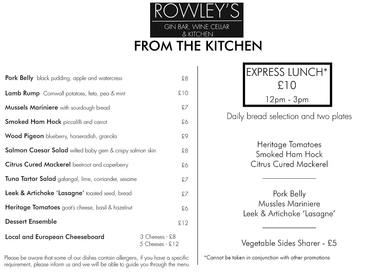 Rowley's Food Menu at Rowley's Derby