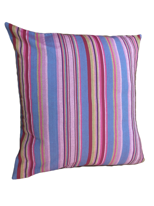 Kikoi Scatter Cushion -  Fuscia & Blue Stripe