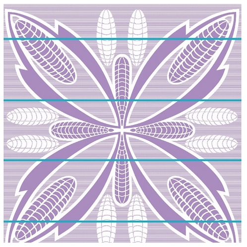 Basotho Blanket - Seanamarena Poone White & Lilac with Cobalt Stripe