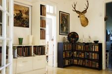 Bookshelves in the Hemingway House.