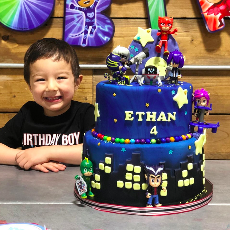 Happy Jason got a PJ Mask Birthday Cake.