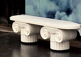 banc sur mesre, banc à colonnes, fabriction de colonnes grecs, sculpteur paris, banc sur mesure