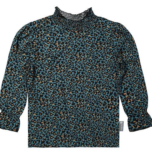 Leopard blouse petrol
