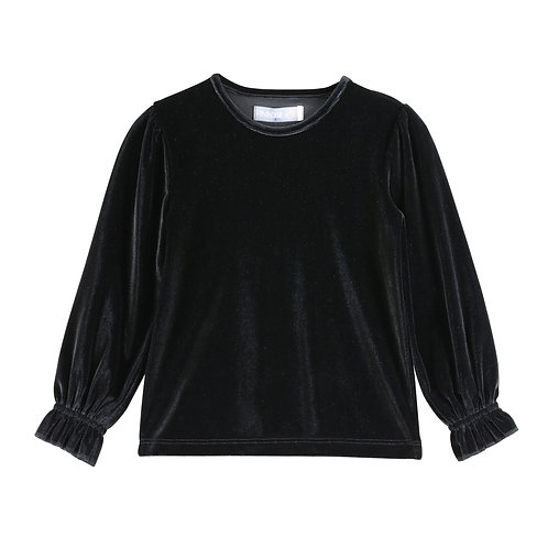 Shirt velours zwart SW20LS037