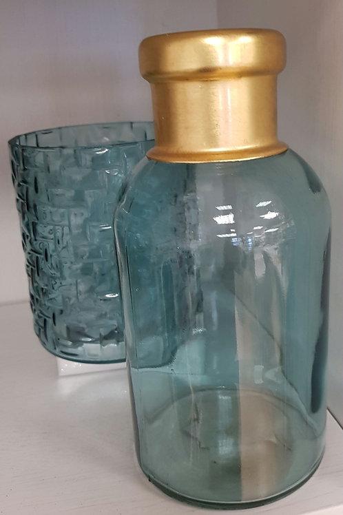 Fles/pot blauw met gouden hals