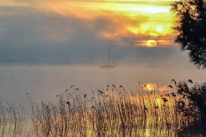 lever de soleil sur le Lac d'Hourtin