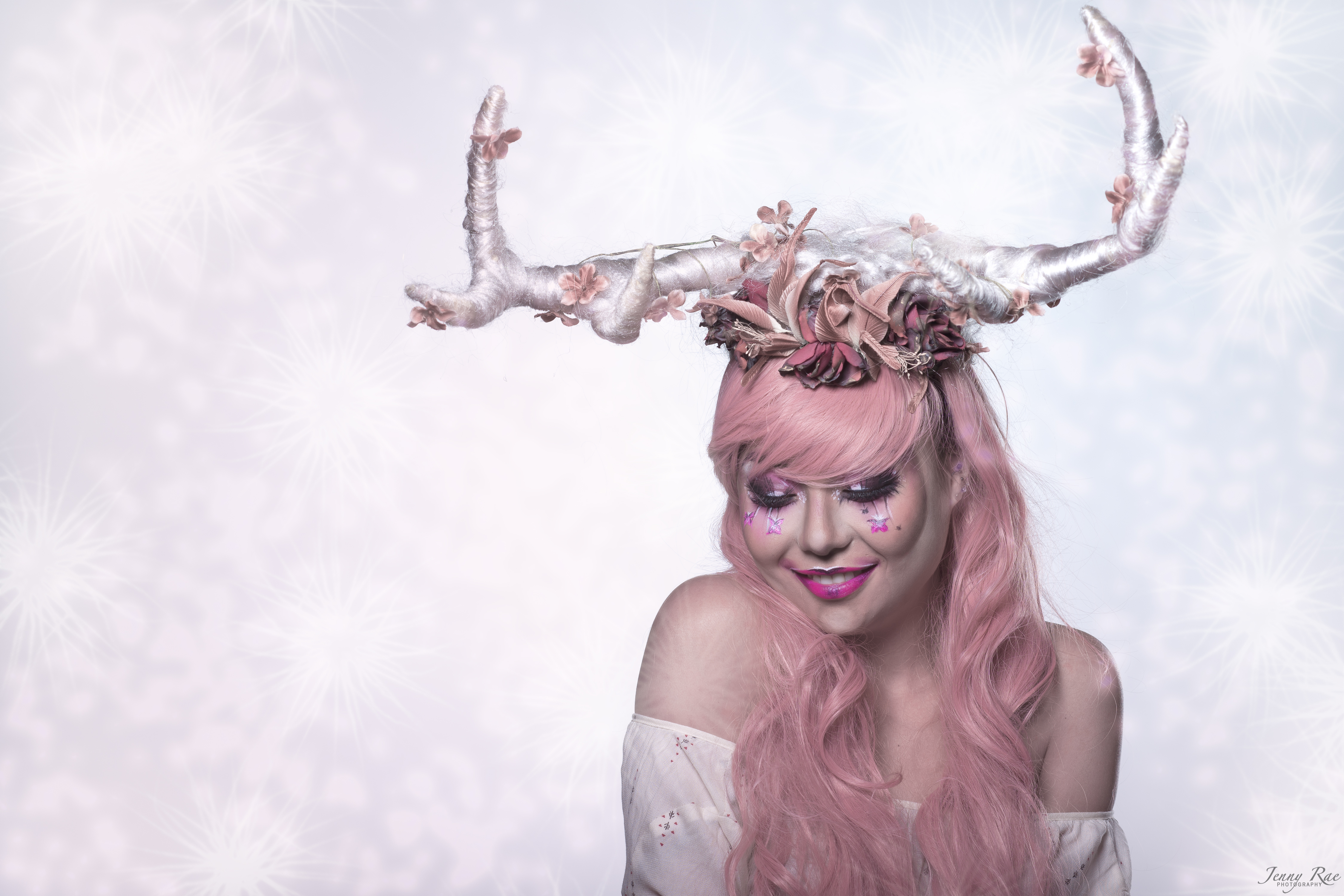 Silver sparkle Foral Hair Antlers