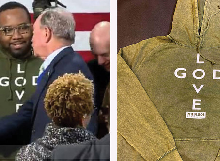 "BILLIONAIRE MIKE BLOOMBERG APPROVES OF THE NEW ""LOVE GOD"" HOODIE ON HIS CAMPAIGN VISIT TO AKRON"