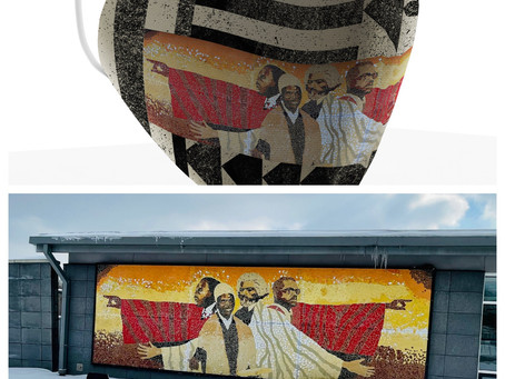 7th Floor references mural by Famed Akron artist Woodrow Nash to create Black History Mask.