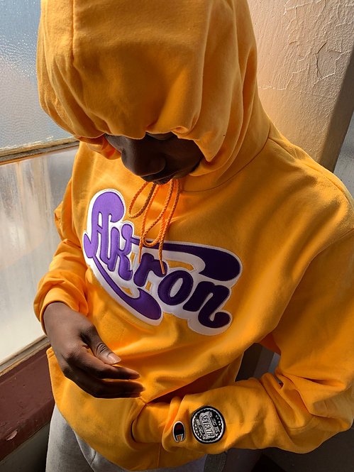 Akron 7th Floor x Champion Hoodie (gold/purple)