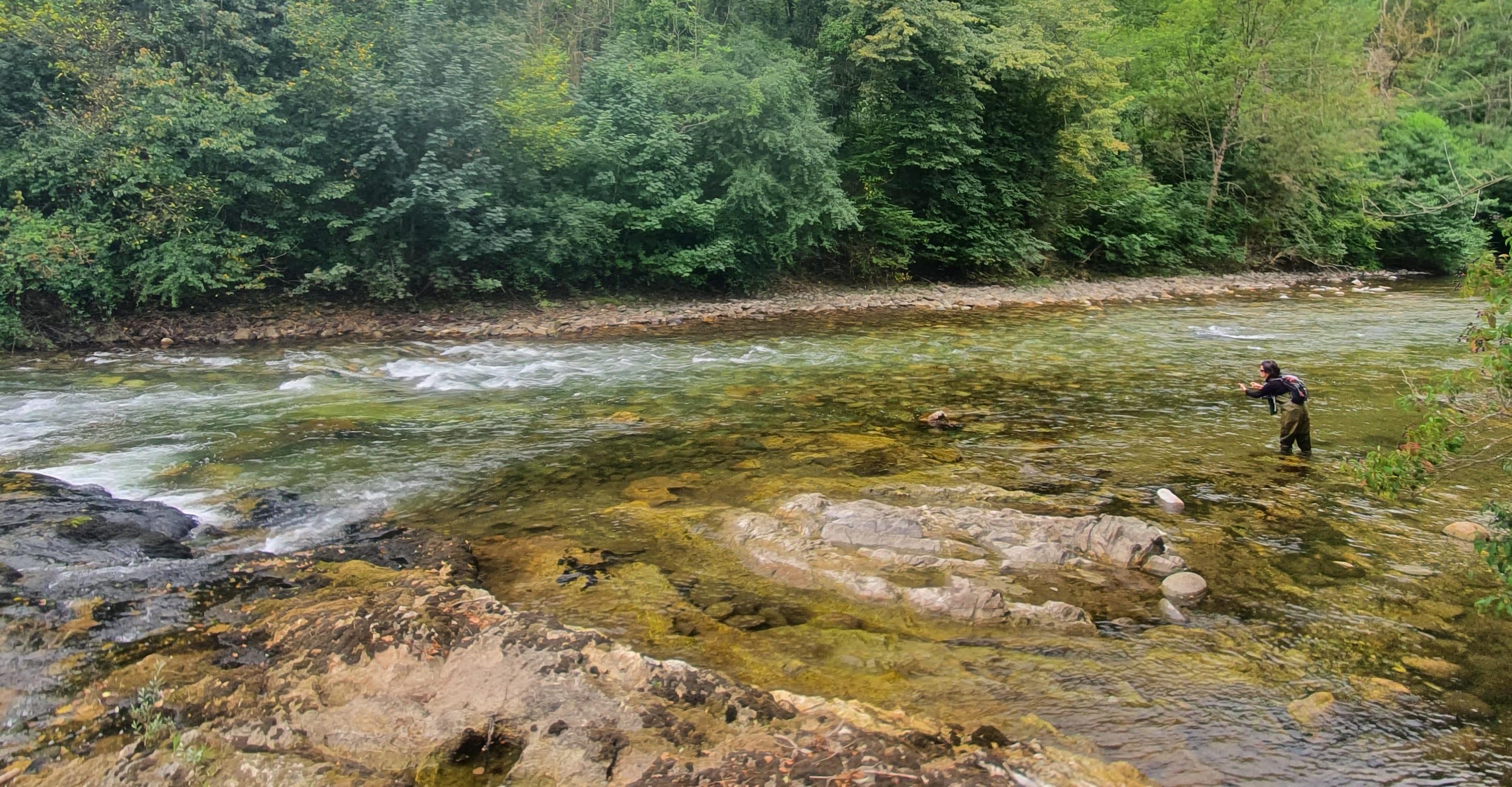Pêche Toc à longue distance en grand cours d'eau sur rivière Salat