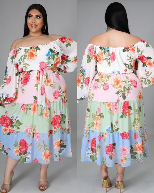 Floral Galore Midi Dress Plus