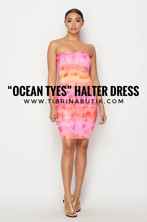 """Ocean Tyes"" Halter Dress SUNSET"