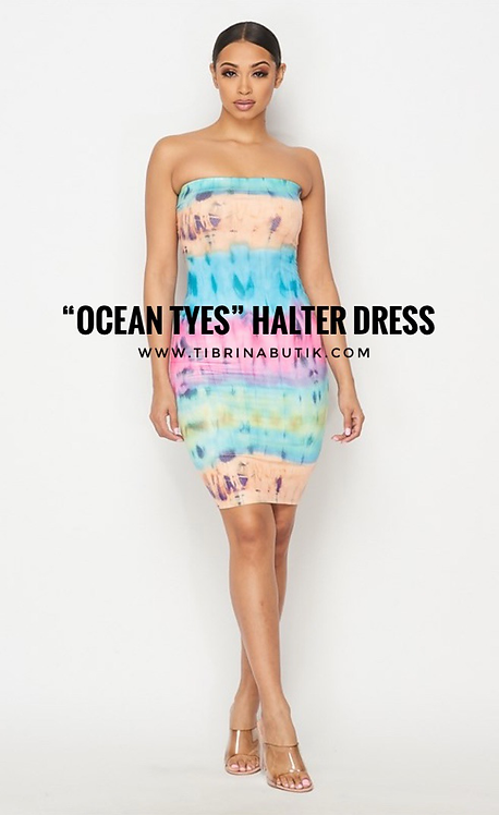 """Ocean Tyes"" Halter Dress SUNRISE"