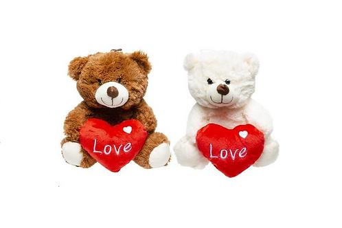 pluche beer met hart 23cm