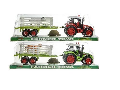 tractor met kar in doos 36x9x11cm