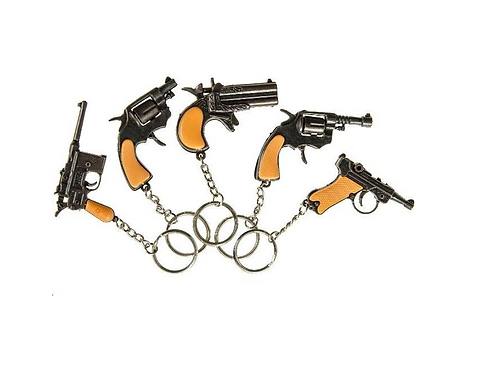 sleutelhanger pistool metaal 6.5cm