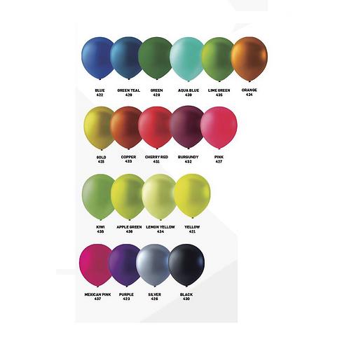 100 ballonnen metallic 30cm per kleur