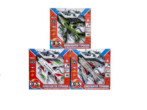 vliegtuig straaljager in doos 20.5x20.5x7.5cm