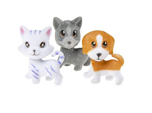 flocked cat & dog 4x7cm